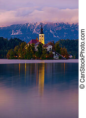 Sunset on the Bled Lake