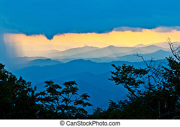 sunset on the Blue Ridge Parkway in North Carolina