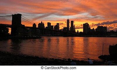 Sunset on the Brooklyn Bridge, New York, USA