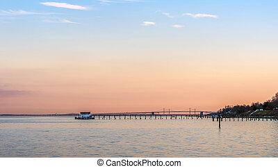 Sunset on the Chesapeake Bay with Bay Bridge