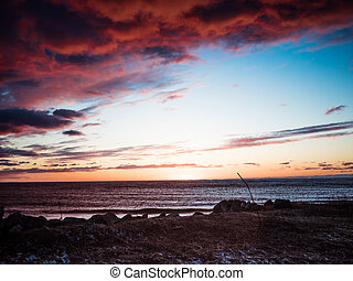 Sunset on the coast of Riga Gulf - Sunset on the coast of...