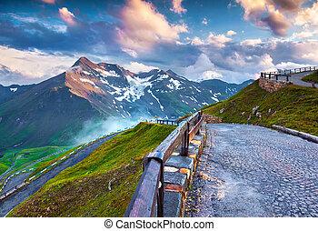Sunset on the famous Grossglockner High Alpine Road