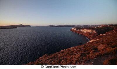Sunset on the island of Santorini, Greece.