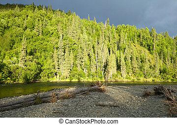 Sunset on the Kipchuk River in Alaska