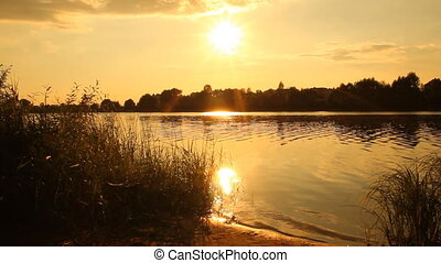 Sunset on the lake. summer landscap