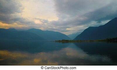 Sunset on the lake Teletskoe, Altai nountains