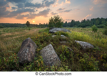 Sunset on the meadow with stones