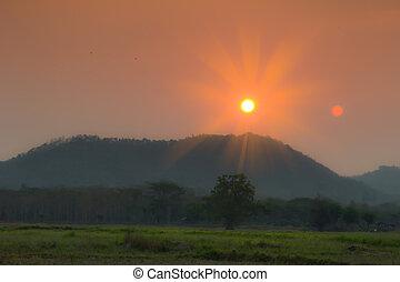 Sunset on the mountain.