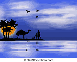 Sunset on the Nile - background with sunset,mother,child,dog...