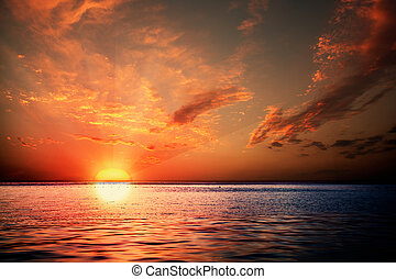 Sunset on the ocean, abstract environmental backgrounds