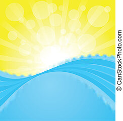 Sunset on the ocean backgroind. EPS 8 CMYK with global colors vector illustration.