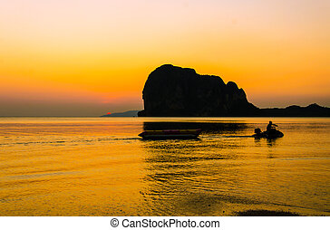 sunset on the Pak Meng Beach, Trang Thailand