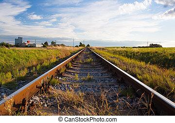 Sunset on the railway track