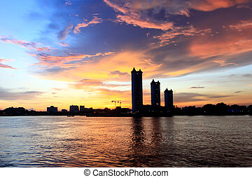 Sunset on the river at Bangkok