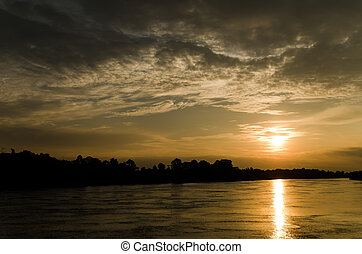 sunset on the river in the evening inThailand