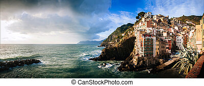 Sunset on the sea in Aerial view of Vernazza - small italian town in the province of La Spezia, Liguria, northwestern Italy.