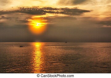 sunset on the sea in Italy