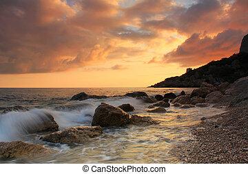 Sunset on the sea shore