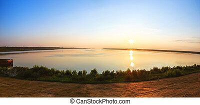 Sunset on the Volga river, Cheboksary.