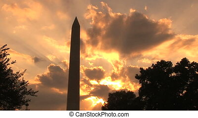 Washington Monument, time lapse - Sunset on the Washington...