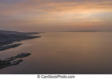 Sunset on the west coast drone photo