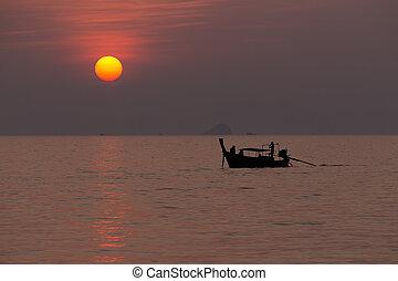Sunset on tropical sea