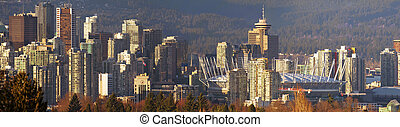 Sunset on Vancouver BC City Skyline