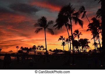 Sunset On Waikiki Beach. Oahu, Hawaii, USA, EEUU.