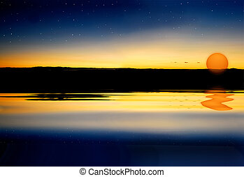 Sunset on water surface - Colorful sunset on water surface ...