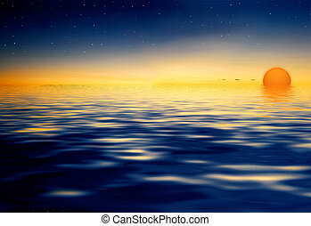 Sunset on water surface