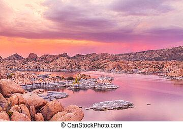Sunset on Watson Lake Prescott AZ - a beautiful sunset at ...