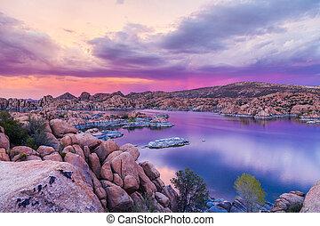 Sunset on Watson Lake Prescott AZ - a beautiful sunset at...