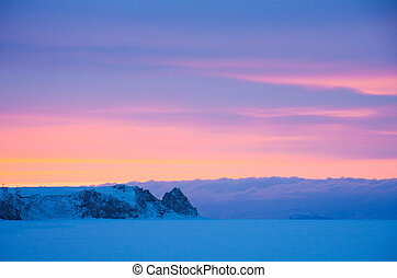 Sunset on winter Baikal