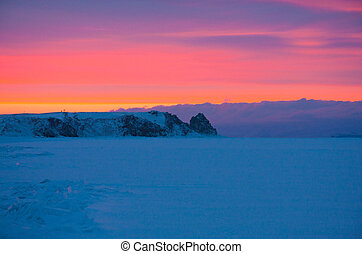Sunset on winter Baikal