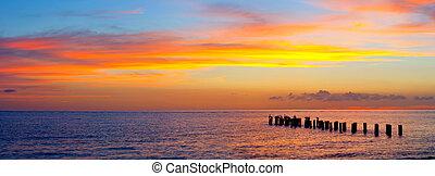 Sunset or sunrise landscape, panorama of beautiful nature, ...