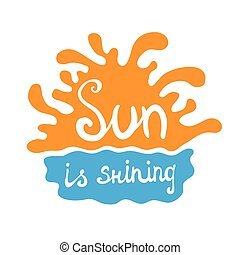 sunset or sunrise over the water, vector logo illustration,...