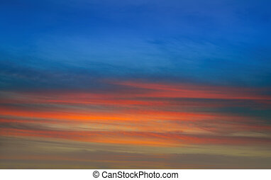 Sunset orange red and blue sky