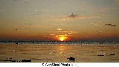 Sunset orange sun time lapse