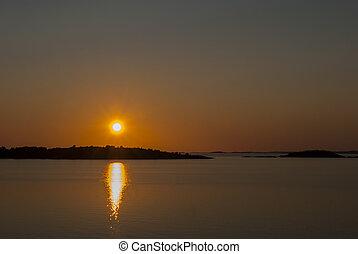 Sunset outside Gothenburg in summer