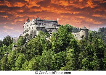 Sunset over a Castle in Austria