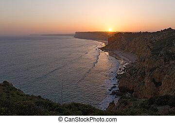 Sunset over a coastline of the Atlantic Ocean.