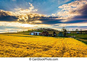 Sunset over a farm in rural York County, Pennsylvania.