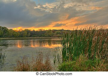 Sunset over a lagoon