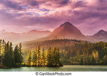 Sunset over a lake in high mountains