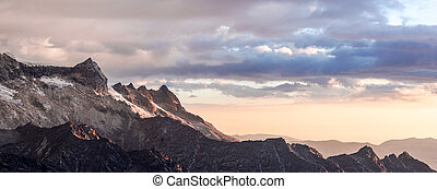 sunset over a mountain landscape in the Andes in Peru