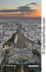 Sunset over a Paris. - Aerial view of Paris with Gare...