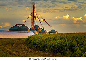 Sunset Over Agricultural Silos