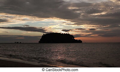 Sunset Over Andaman Sea - Andaman Sea at Sunset, waves and...