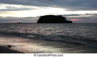Sunset Over Andaman Sea - sunset and waves, Andaman Sea,...