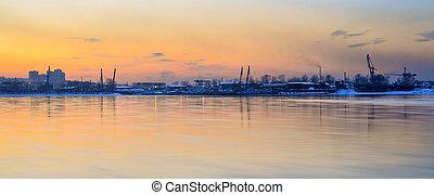 Sunset over Angara river